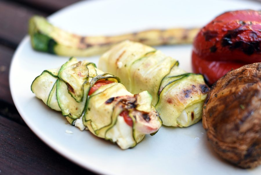 Grilled feta in zucchini