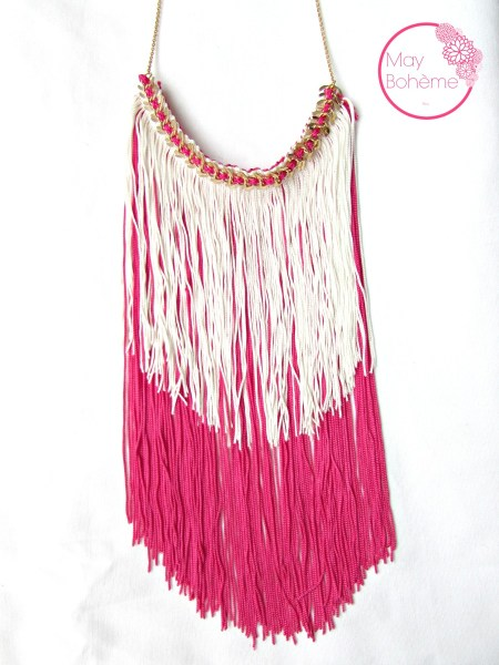 plastron_colors_bahia_may_boheme_boho_hippie_chic_frange_galon_rose_fuschia_blanc_cassé_chaine_bonefisher