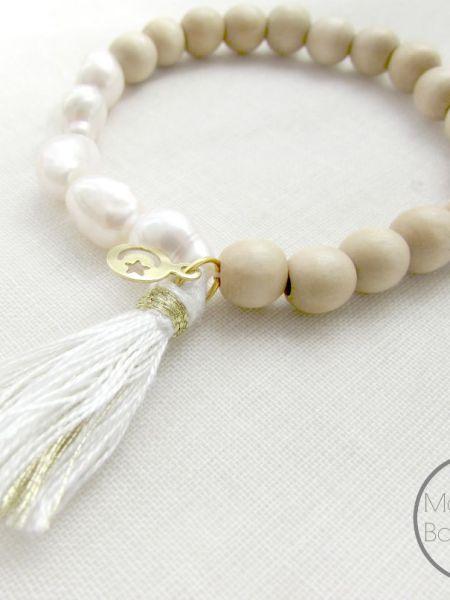 """Bracelet Pearls Wood """"Naturelle"""" - Bois naturel, perles d'eau douce, pompon"""