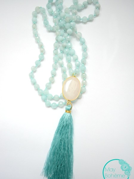 """SAUTOIR NOUR ACQUA """"BOHEMIENNE CHIC"""" - Sautoir en perles de calcédoine , cabochon quartz blanc rude, pompon soyeux"""