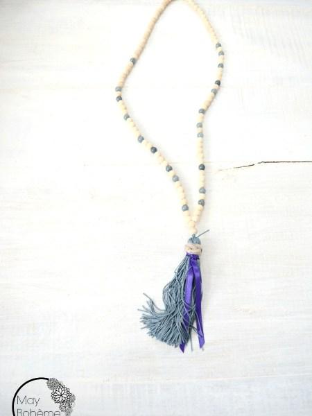 Sautoir Lavande Wood NATURAL - sautoir en bois naturel, jeu de perles en verre, long pompon ruban