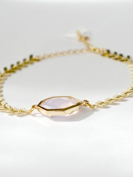"BRACELET PINK ECLIPSE ""MAY MINIMALISTE"" - cristal rose, chaîne chevron plaqué or"