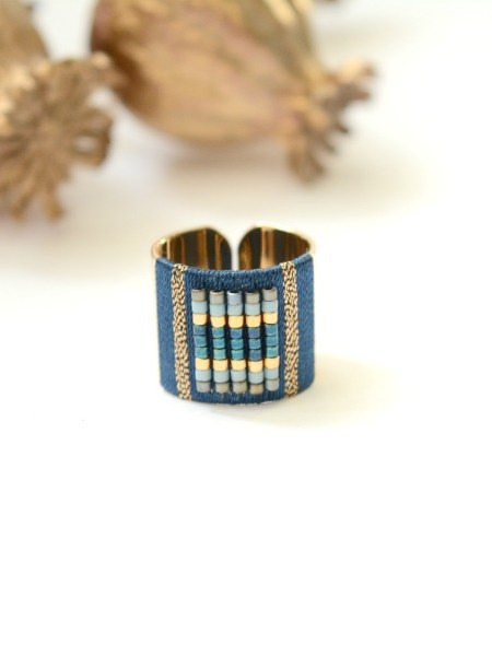 bague_ajustable_gypset_perles_miuyki_tissage_bleu_petrole_may_boheme