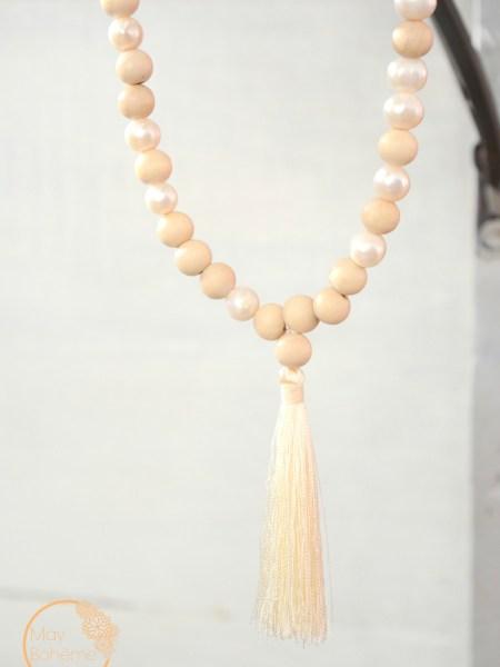 """Sautoir Sweet pearl  """"NATURAL"""" - sautoir en bois naturel, jeu de perles d'eau douce"""