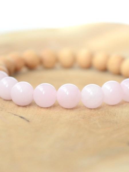 Bracelet Agata SWEET SANTAL - Perles de santal, agate