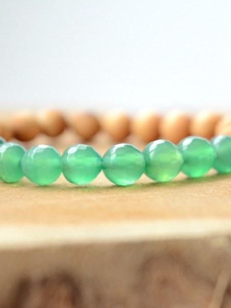 Bracelet Green SWEET SANTAL - Perles de santal, jade