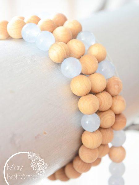 Sautoir Agata SWEET SANTAL - Perles de santal et agate