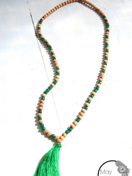 Sautoir Green SWEET SANTAL - Perles de santal et jade