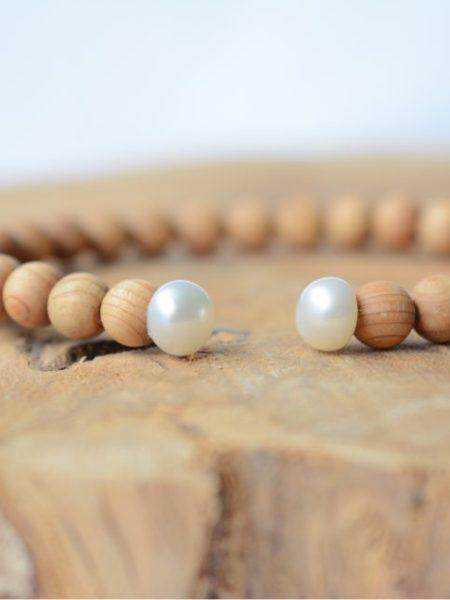 Jonc Angel SWEET SANTAL - Perles de santal et perles d'eau douce