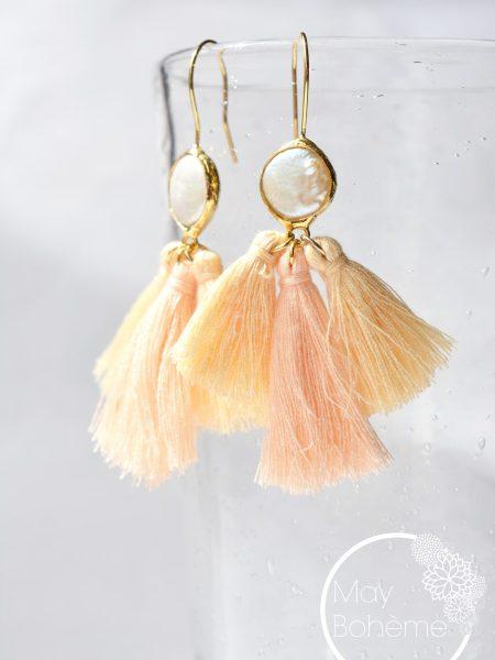 boucles oreilles SEPHO Bohémienne chic - Pendants perles véritables pompons