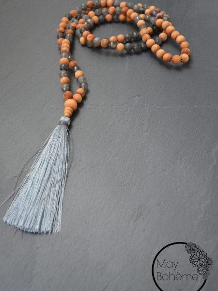 Sautoir Sobr SWEET SANTAL - Perles de santal et labradorite