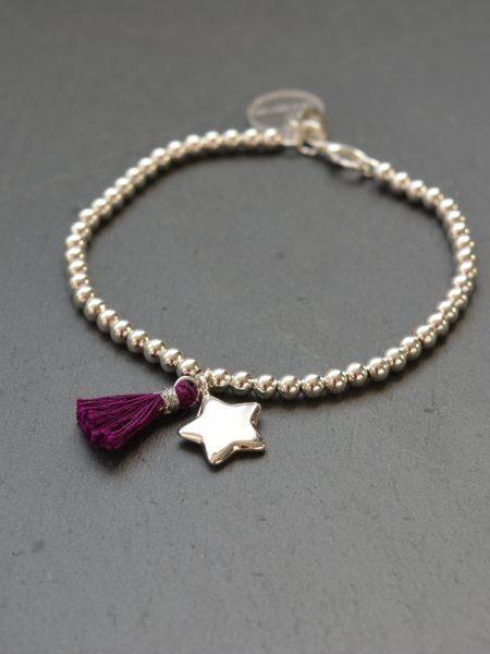 """BRACELET MON ETOILE """"MAY MINIMALISTE"""" - perles en argent 925 étoile, pompon"""