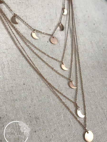 "COLLIER MULTIRANGS KHAMAR ""GYPSET SPIRIT"" - Multi-chaînes pendentifs lunaires"
