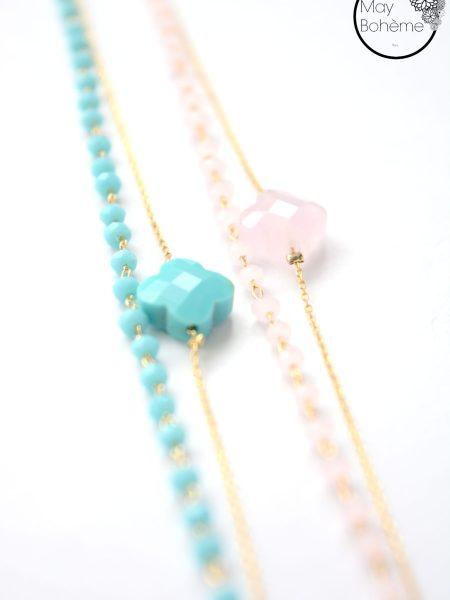 """Bracelet Noor """"Bohemienne Chic"""" - Bracelet trèfle chaîne rosaire"""