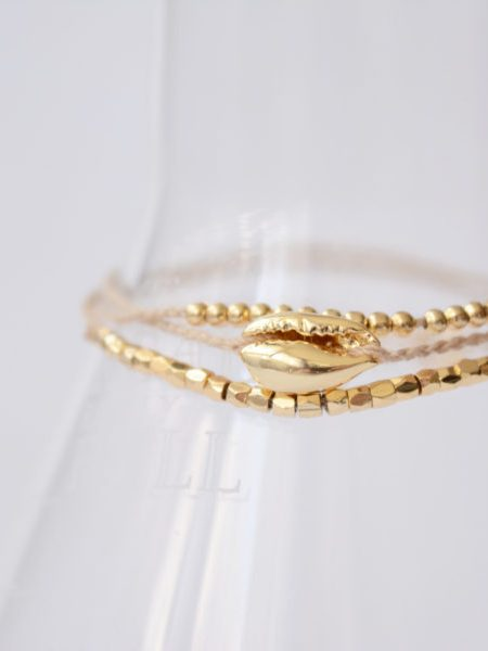 "Bracelet Cauris d'or ""First Summer"" - Coquillage Cauris"