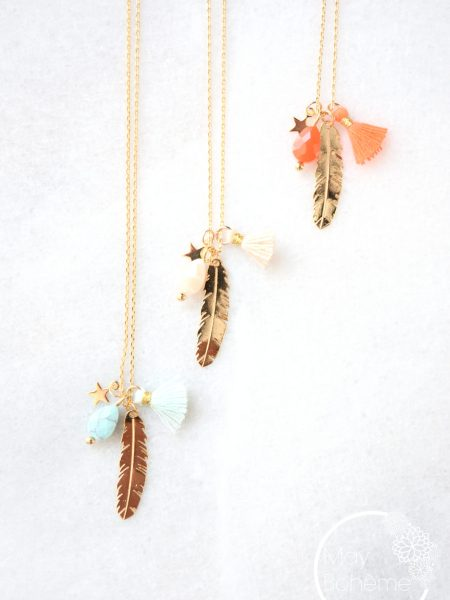 "Collier Wild Feather ""First Summer"" - fin collier plume pompon étoile"