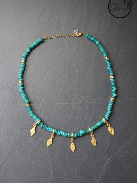 "Collier Indie ""INDIAN MOOD"" - Ras de cou Heishi coquillage pampilles plaqué or"