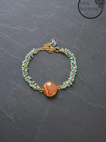 """Bracelet Pondichéry """"INDIAN MOOD"""" - Bracelet rocailles, Cornaline"""