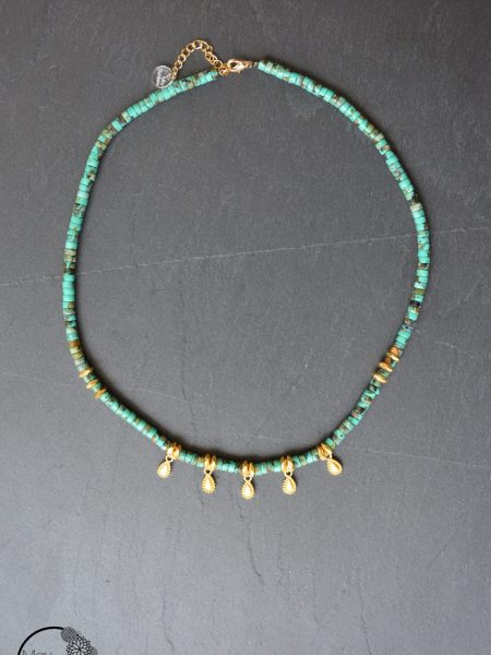 "Collier India ""INDIAN MOOD"" - Ras de cou turquoise africaine pampilles plaqué or"