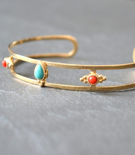"""Jonc Lovely Pondichéry  """"INDIAN MOOD"""" - Jonc ouvert plaqué or turquoise corail"""