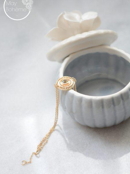 """Bracelet Pur Taj Mahal """"INDIAN MOOD"""" - Bracelet multi-chaines Médaille Labradorite"""