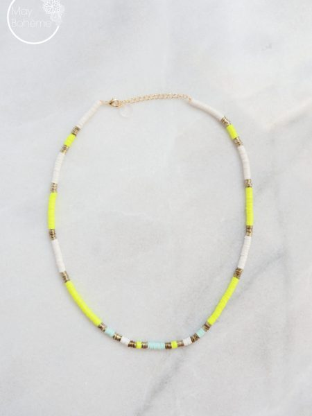 "Collier Sunshine ""Bohémian Mood"" - Collier Heishi Surfeur perles"