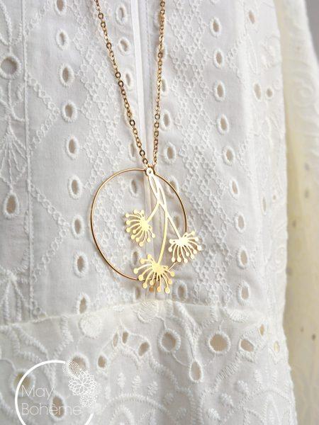 """Sautoir Light Blossom """"Art Bucolique"""" - Sautoir Rétro pendentif fleur"""