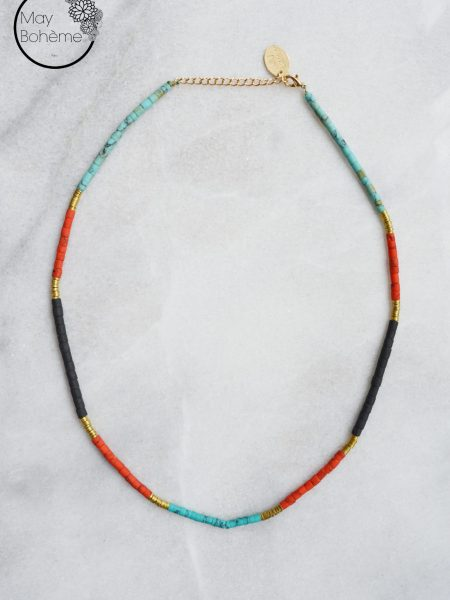 "Collier Sweet Jaipur ""INDIAN MOOD"" - Ras de cou Heishi turquoise"