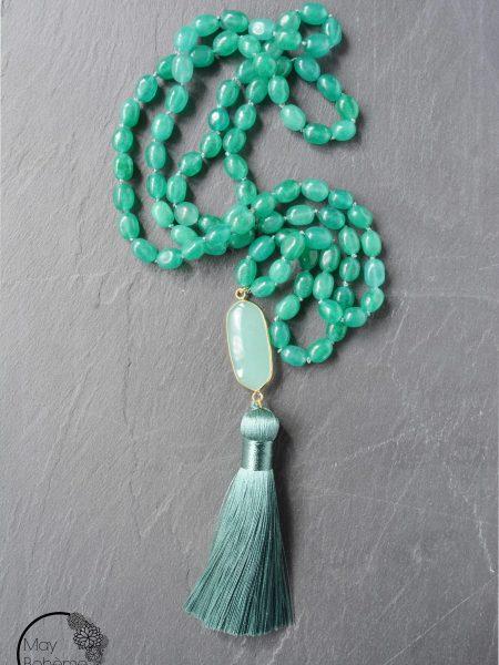 """SAUTOIR Ora """"BOHEMIENNE CHIC"""" - Sautoir en perles de jade pompon soyeux"""