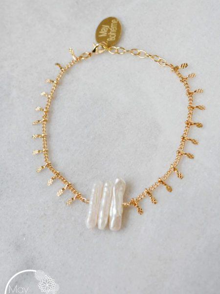 """BRACELET LALAH PEARL """" BOHEMIAN MOOD"""" - Bracelet perles chips d'eau douce plaqué or"""
