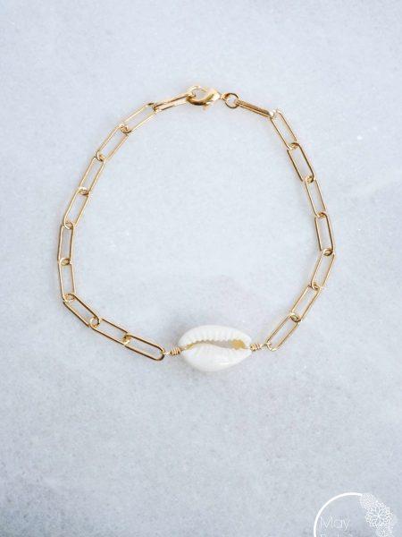 "BRACELET DREAMLAND  "" BOHEMIAN MOOD"" - Bracelet coquillage Cauri chaîne rectangulaire"