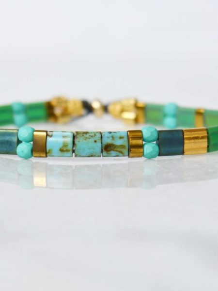 """Bracelet Gold Tila  """"BOHEMIAN MOOD"""" - Bracelet réglable perles Tila et perles plaqué or"""