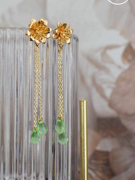 """Boucles d'oreilles Rosa Blossom """"Art Bucolique"""" - Pendants d'oreilles Fleur chaines gouttes"""