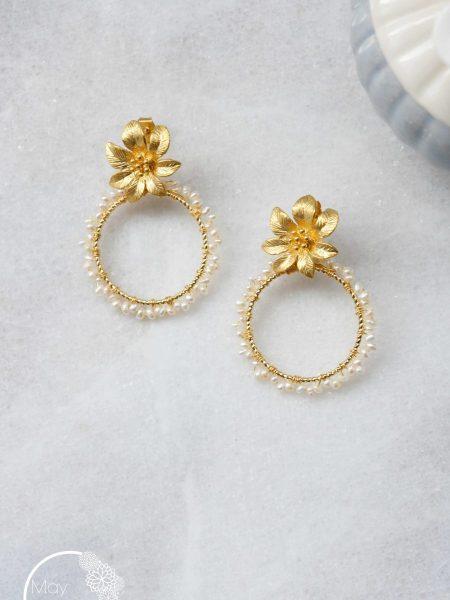 """Boucles d'oreilles Romantic Blossom """"Art Bucolique"""" - Créoles  fleur perles d'eau douce"""