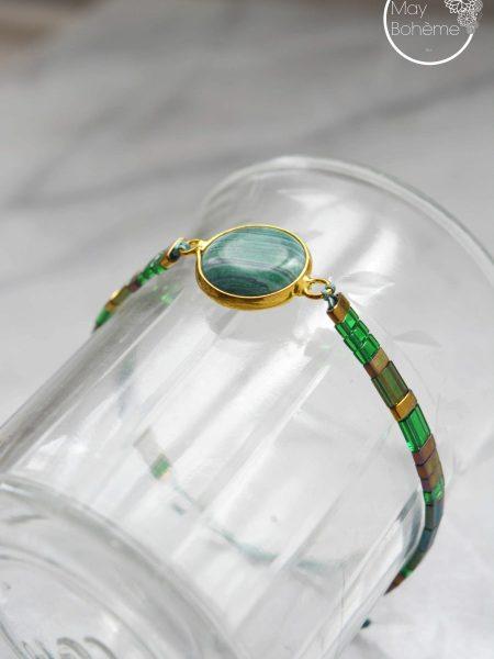 "Bracelet Sunny  ""BOHEMIAN MOOD"" - Bracelet réglable perles Tila pierre fine"