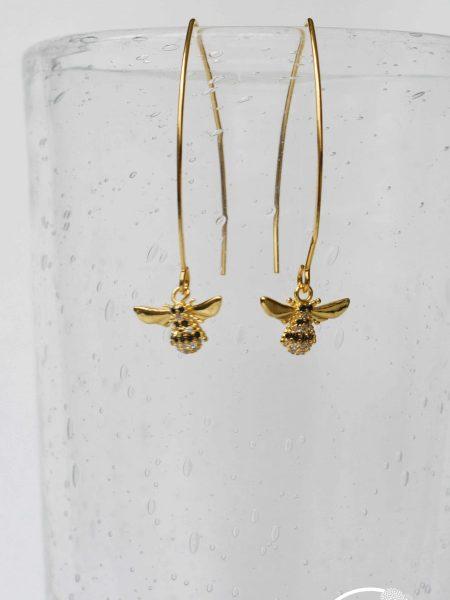 """Boucles d'oreilles Melle Blossom """"Art Bucolique"""" - Pendants d'oreilles crochet abeilles en zirconium"""