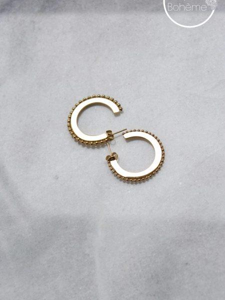 """Boucles d'oreilles Etnic """"BOHEMIAN MOOD"""" - Créoles pleines perlées acier inoxydable"""