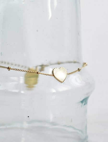 "Bracelet LoveMe ""BOHEMIAN MOOD"" - Bracelet chaîne fine médaille Coeur acier inoxydable"