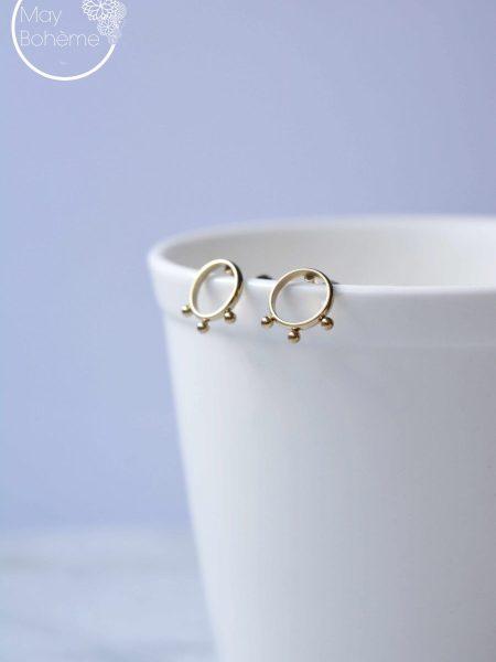 """Boucles d'oreilles RITA """"BOHEMIAN MOOD - Petites boucles Ethnique cercles perlés acier inoxydable doré"""