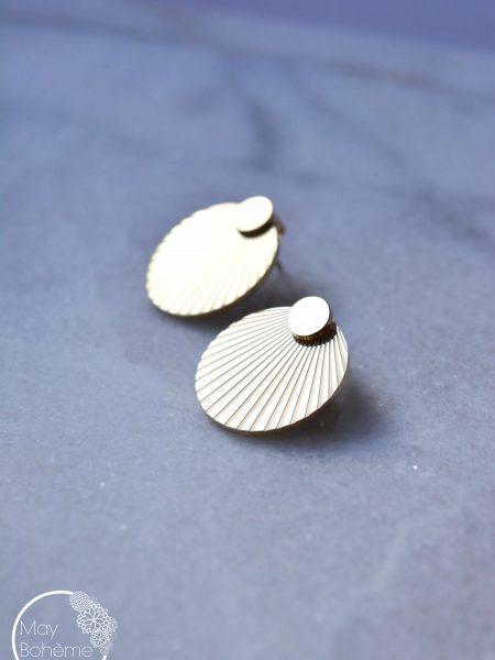 """Boucles d'oreilles Solari """"BOHEMIAN MOOD"""" - Boucles d'oreilles devant-derrière lobe médaille solaire acier inoxydable"""