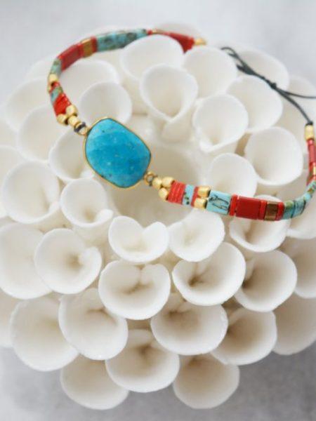 "Bracelet Jalane ""BOHEMIAN MOOD"" - Bracelet réglable perles Tila pierre fine Turquoise"