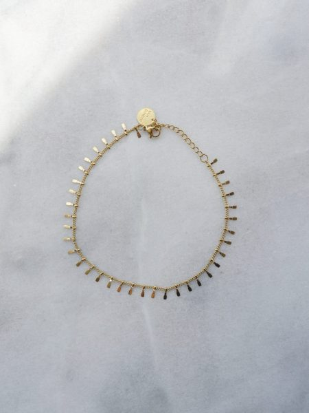 """Bracelet de cheville Marina """"BOHEMIAN MOOD"""" - chaîne pampilles petits picots acier inoxydable or"""