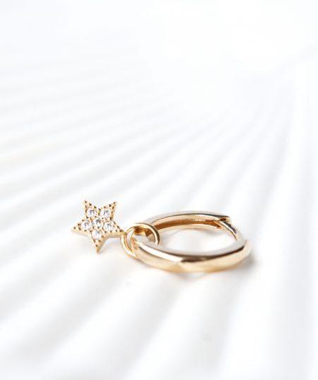 """Créole Sweety star """"Bohemian Mood"""" - Boucle d'oreille petite créole étoile plaqué or zirconium"""