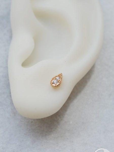 """Boucles d'oreilles ASSIA """"INDIAN MOOD"""" - Puces d'oreilles indiennes Bindi goutte plaqué or Zirconium"""