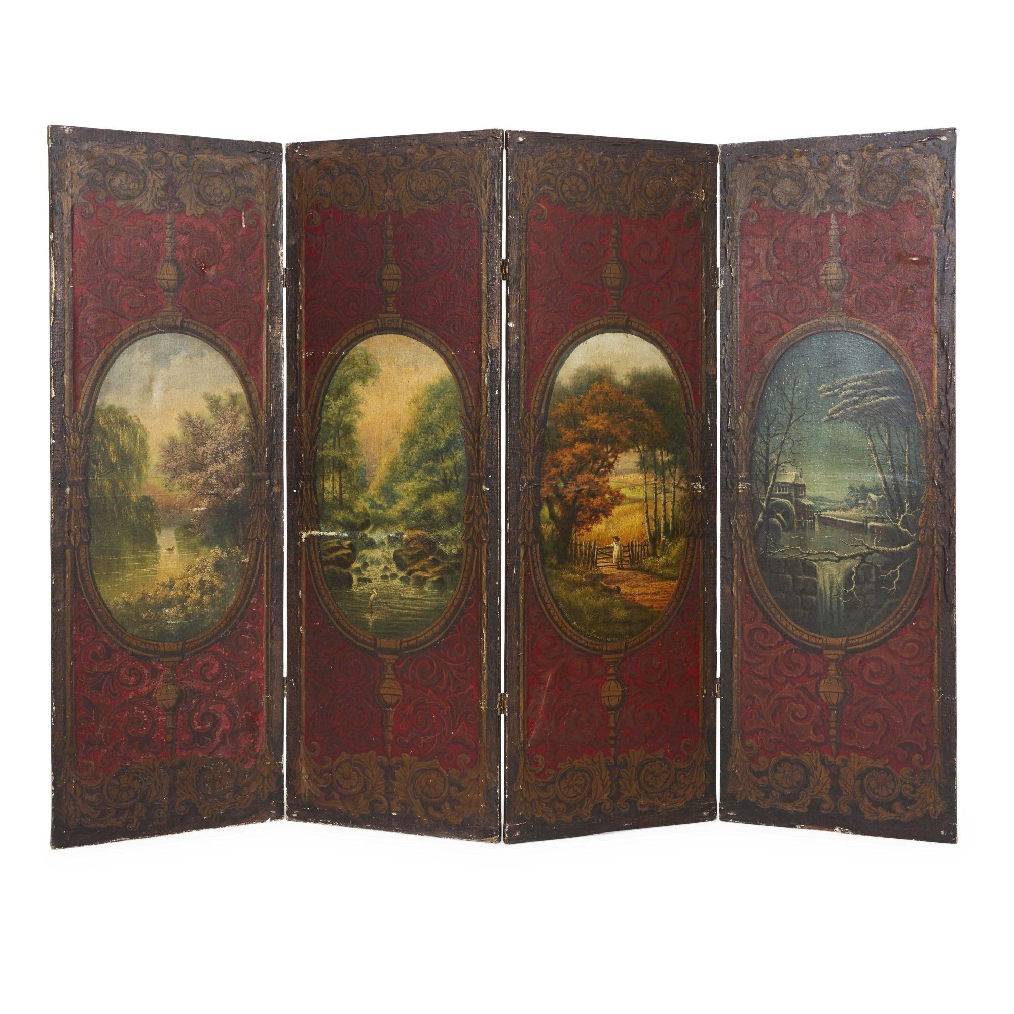 Antique French Folding Screen Painted In The Romantic