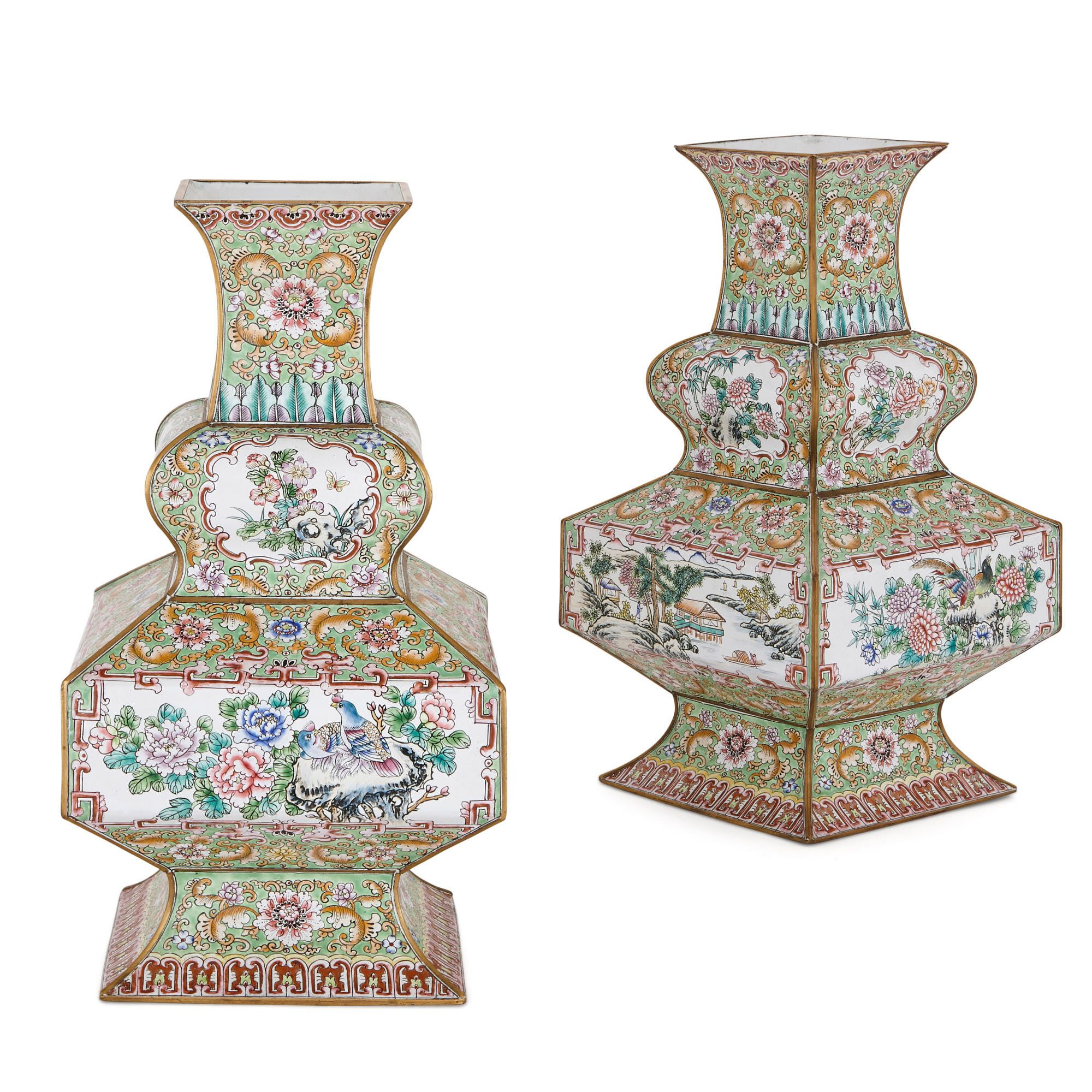 Pair Of Chinese Qing Dynasty Cloisonne Enamel Vases