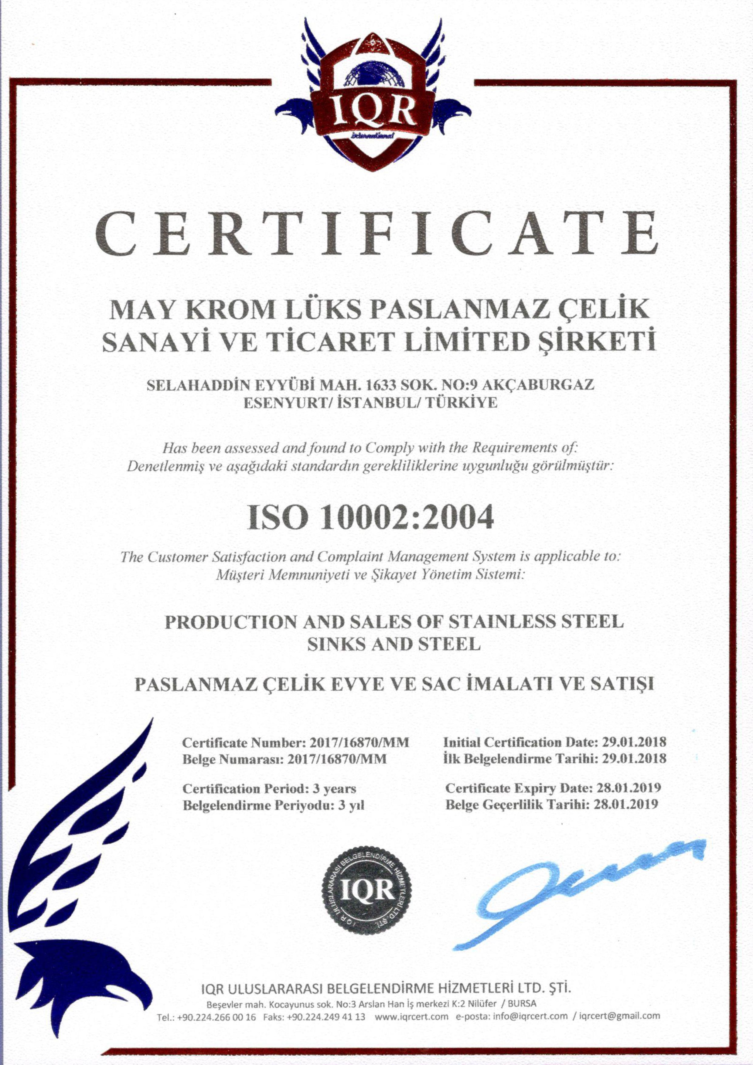 ISO 10002 - CERTIFICATES