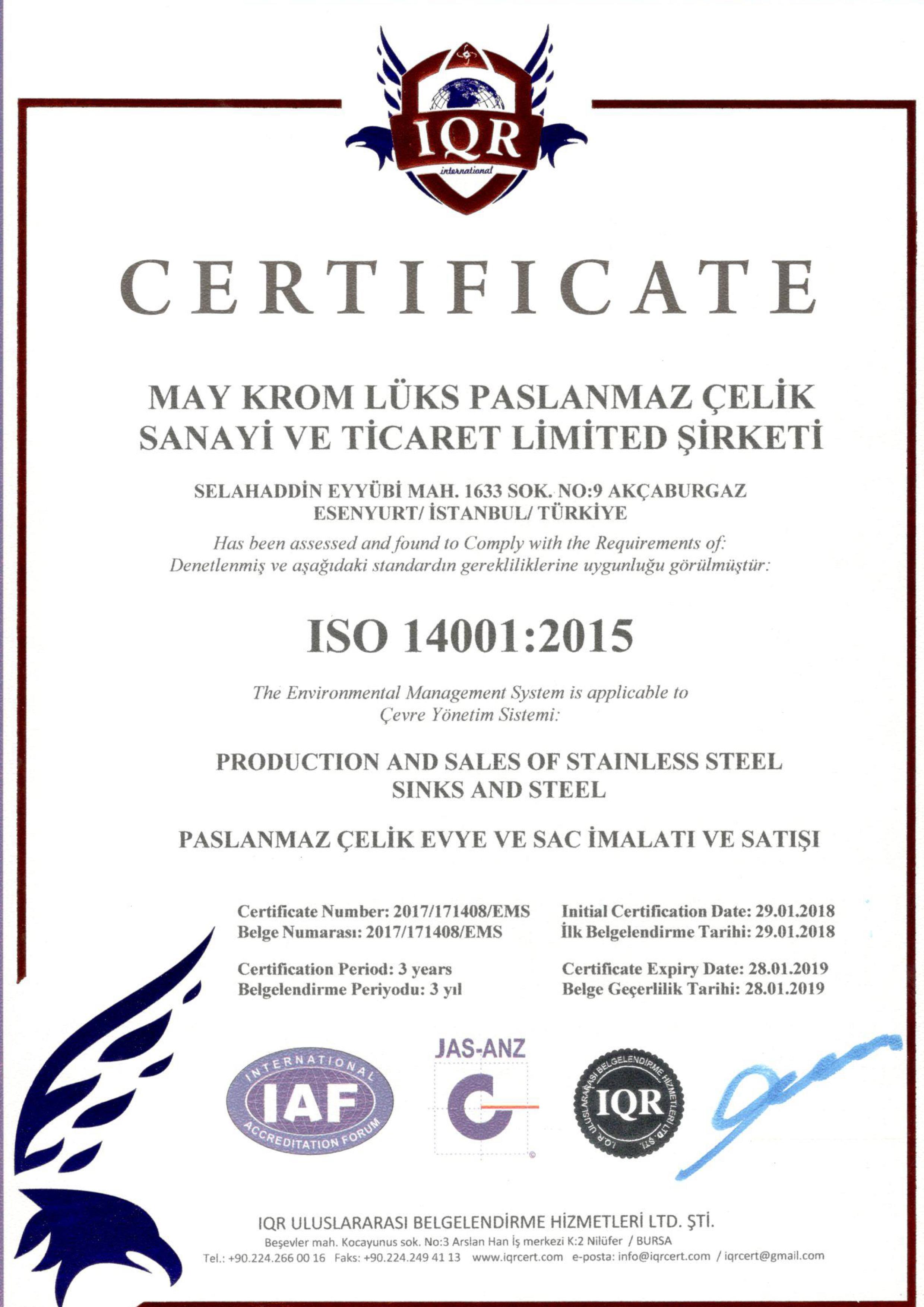 ISO 14001 - CERTIFICATES