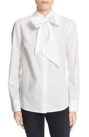 removable tie cotton poplin blouse