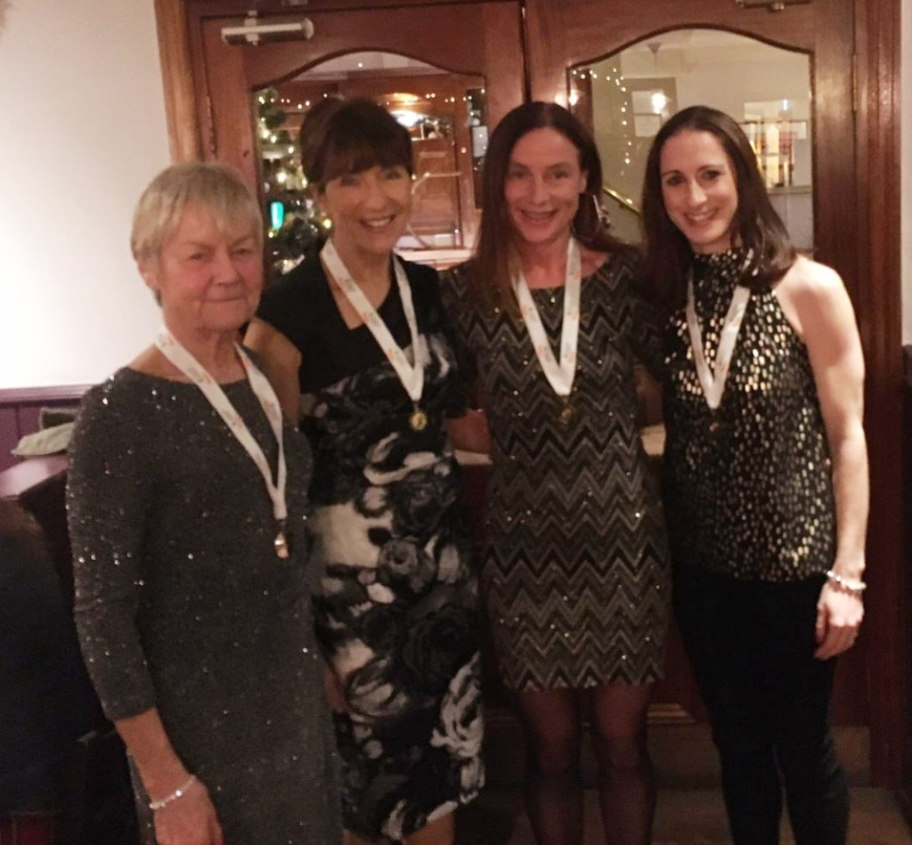 Celebrating national medal success: l-r Mags Glavey, Pauline Moran, Colette Tuohy, Norah Newcombe Pieterse